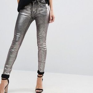 Paige Metallic Ultra Skinny Denim NWT
